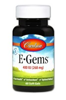 Carlson Labs E-Gems Natural Vitamin E, 400 IU, 60 Softgels