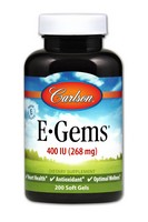 Carlson Labs E-Gems Natural Vitamin E, 400 IU, 200 Softgels