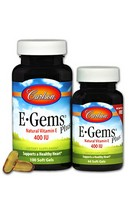 Carlson Labs E-Gems Plus Natural Vitamin E, 400 IU, 100 Softgels