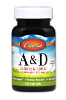 Carlson Labs Vitamin A and D, 25000/1000 IU, 100 Softgels