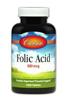Carlson Labs Folic Acid, 800mcg, 1000 Tablets