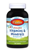 Carlson Labs - For Kids, Chewable Vitamins and Minerals, Natural Blue Raspberry Flavor, 180 Tablets