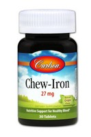 Carlson Labs - Chew-Iron, Natural Grape Flavor, 27 mg, 30 Tablets
