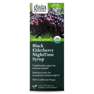 Gaia Herbs Black Elderberry Nighttime Syrup 5.4 oz