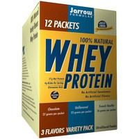 Jarrow Formulas - 100% Natural Whey Protein, 3 Flavors Variety Pack, 12 Packets