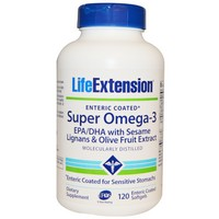 Life Extension - Super Omega-3, EPA/DHA with Sesame Lignans and Olive Fruit Extract, 120 Enteric Coated Softgels