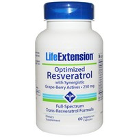 Life Extension OPTIMIZED RESVERATROL With SYNERGISTIC GRAPE-BERRY 60 VEGGIE CAPSULES
