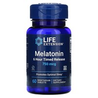 Life Extension MELATONIN TIME RELEASED 750 MCG 60 VEGTETARIAN TABLETS