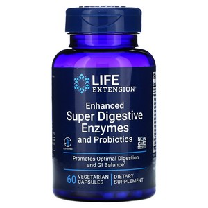 Enhanced Super Digestive Enzymes w/Probiotics Life Extension 60 Caps