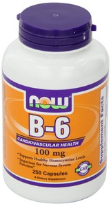 Now Foods - B-6, 100 mg, 250 Capsules