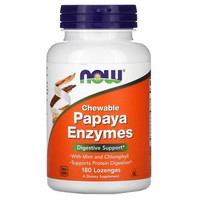 Now Foods - Chewable Papaya Enzymes, 180 Lozenges