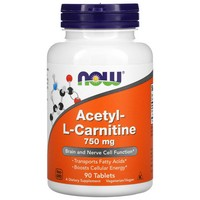 Now Foods - Acetyl-L Carnitine, 750 mg, 90 Tablets