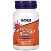 NOW VITAMIN D-3 5000 IU - 120 SOFTGELS