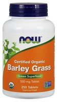 Now Foods - Certified Organic Barley Grass, Green Superfood, 500 mg, 250 Tablets