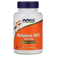 Now Foods - Betaine HCL, 648 mg, 120 Capsules