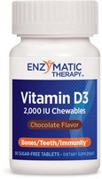 Enzymatic Therapy - Vitamin D3, Sugar-Free, Chocolate, 2000 IU, 90 Chewable Tablets