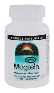 Source Naturals - Magtein, Magnesium L-Threonate, 667 mg, 45 Capsules