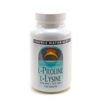 Source Naturals, L-Proline L-Lysine,  275 mg / 275 mg, 120 Tablets